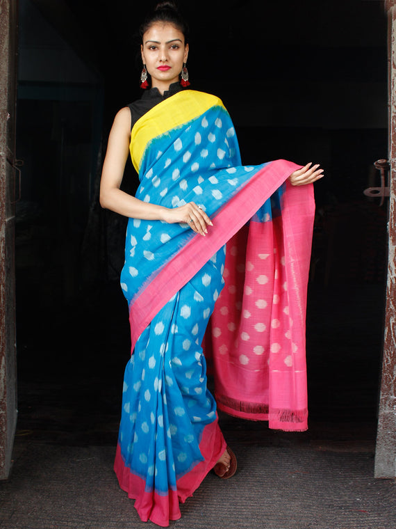 Sky Blue Pink Yellow Grey Ikat Handwoven Ganga Jamuna Border Cotton Saree - S031703638