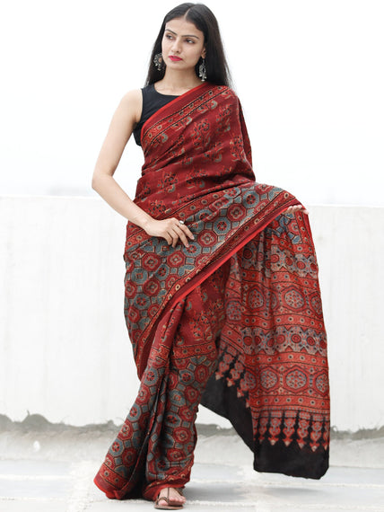 Red Black Blue Beige Ajrakh Hand Block Printed Modal Silk Saree in Natural Colors - S031703723