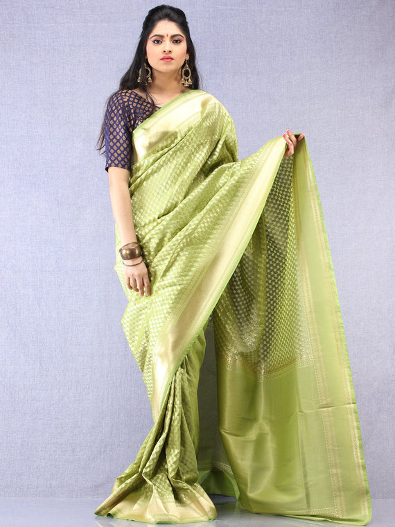 Banarasee Chanderi Silk Paisley Saree With Zari Border - Light Green & Gold  - S031704337