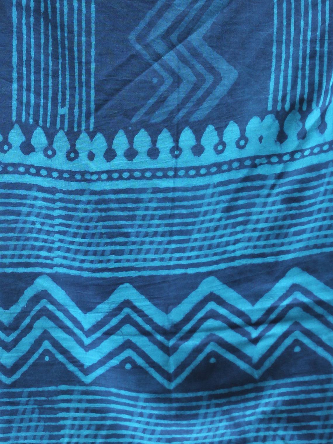 Indigo Sky Blue Cotton Hand Block Printed Dupatta - D04170423