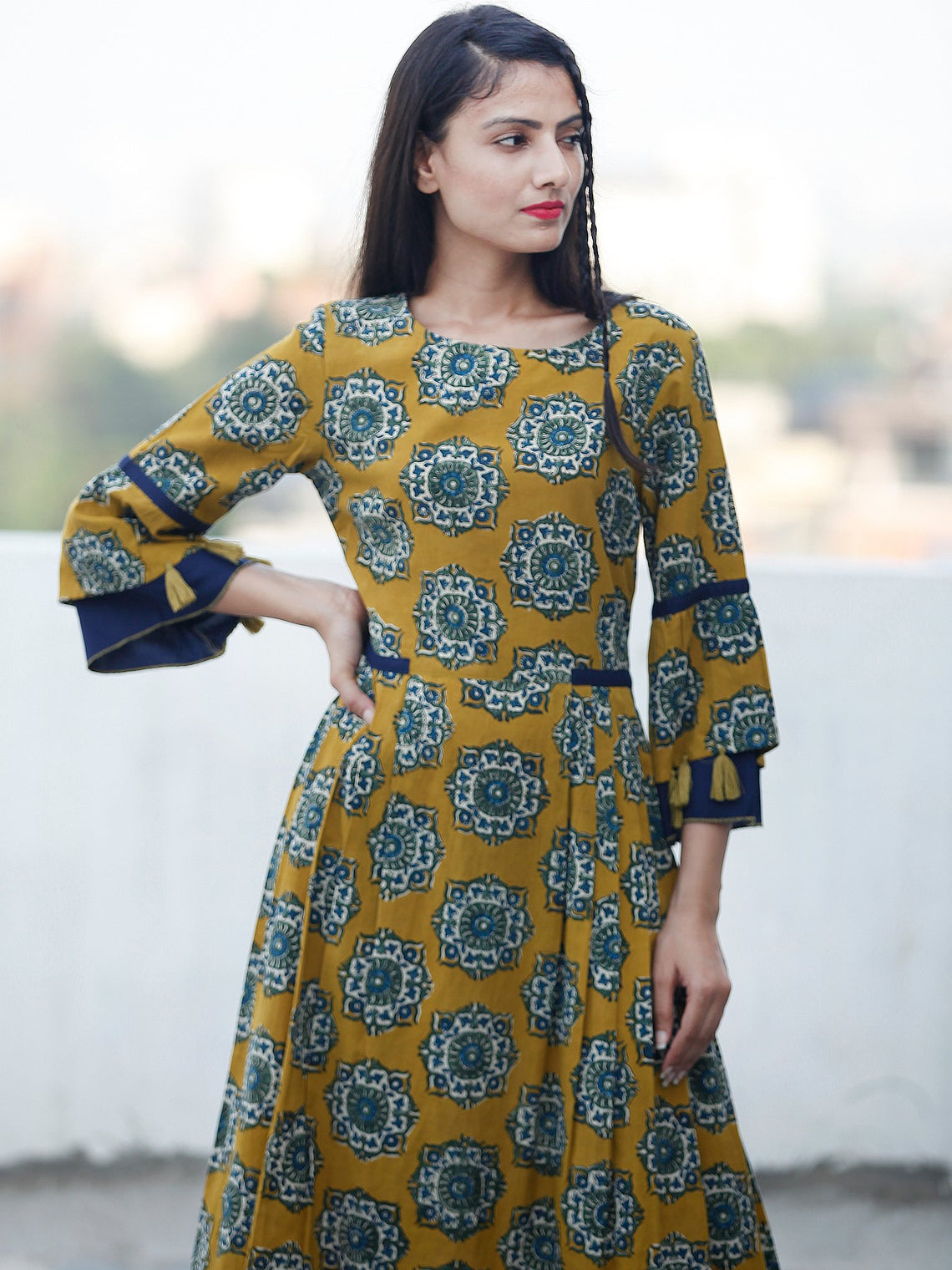 EVENING ELEGANCE - Hand Block Printed Long Cotton Dress - D348F1814