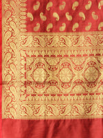 Banarasi Chanderi Dupatta With Zari Work - Red & Gold - D04170820