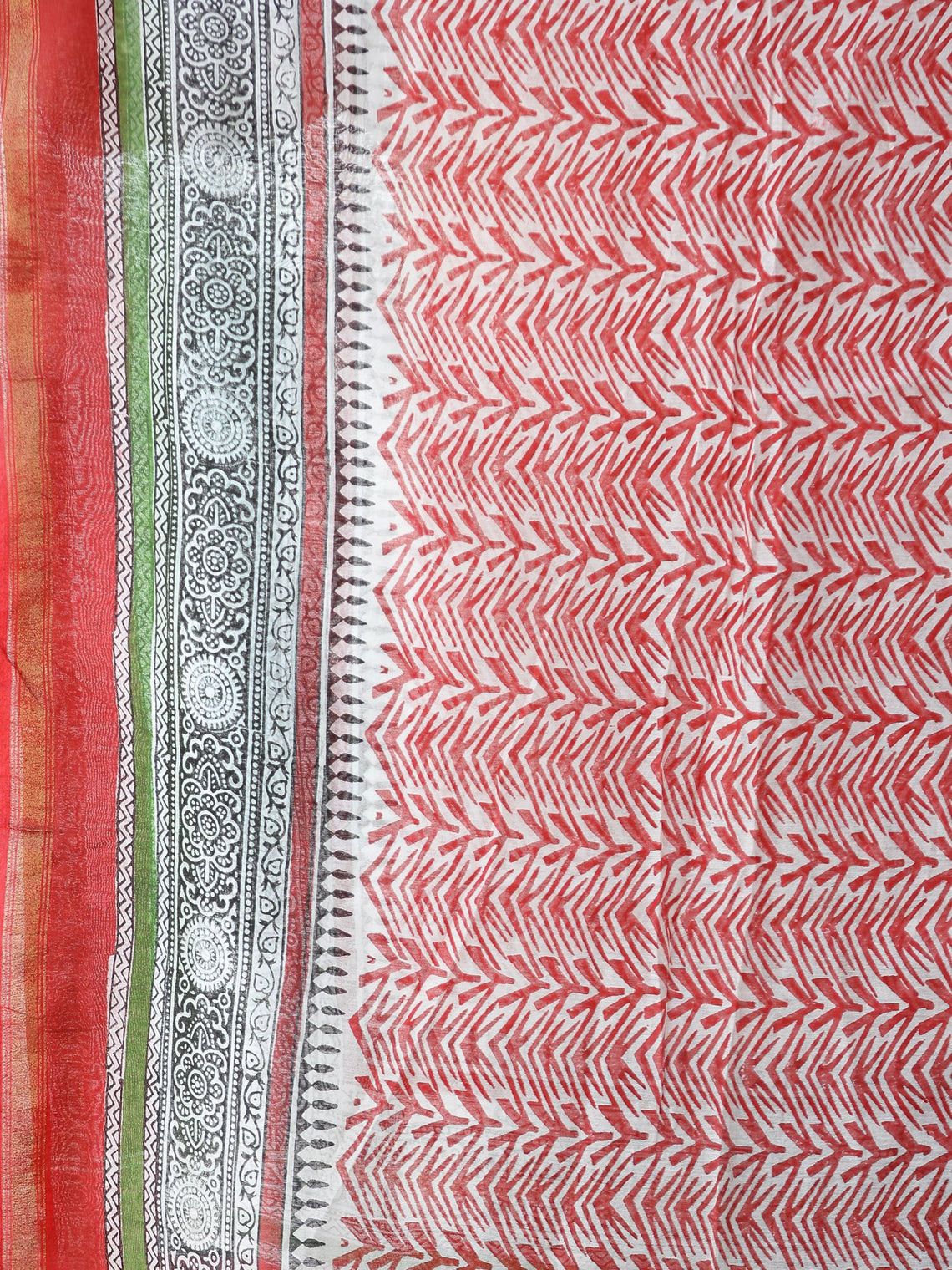 Coral White Green Chanderi Hand Block Printed Dupatta - D04170565