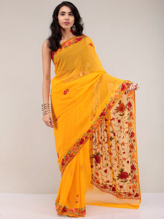 Golden Yellow Aari Embroidered Georgette Saree From Kashmir - S031704653