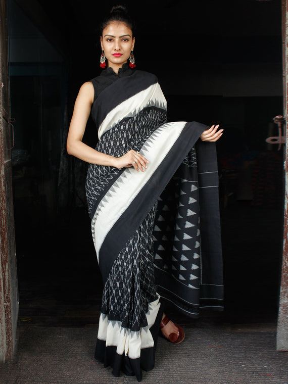 Black White Grey Ikat Handwoven Cotton Saree - S031703639