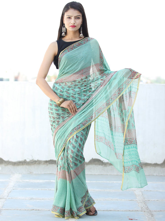 Light Green Coral Hand Block Printed Chiffon Saree with Zari Border - S031703941