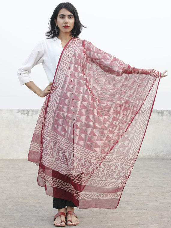 Cherry Red Maroon Beige Kota Doria Cotton Hand Block Printed Dupatta  - D04170197