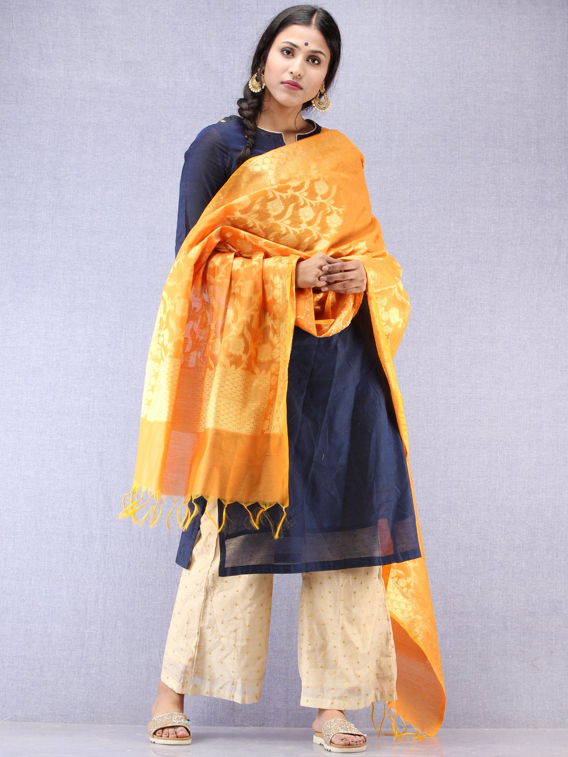 Banarasi Chanderi Dupatta With Resham Work - Yellow & Gold - D04170819