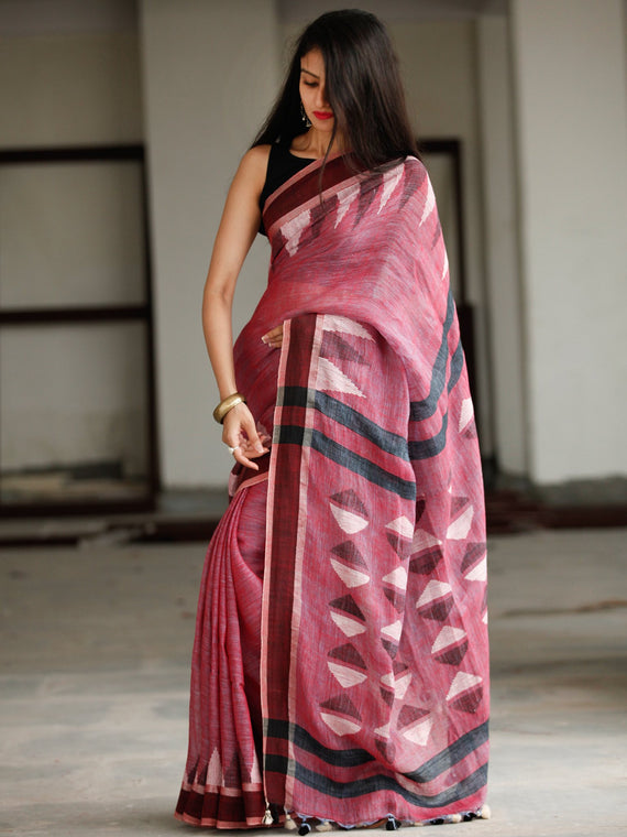 Deep Pink Brown Ivory Handwoven Linen Jamdani Saree With Tassels - S031703803