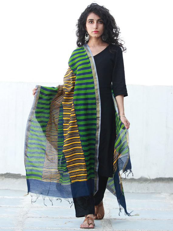 Royal Blue Yellow Green Chanderi Hand Block Printed Dupatta - D04170477