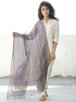 Purple Grey Kota Silk Hand Block Printed Dupatta - D04170567
