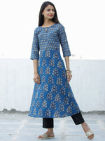 Indigo Golden Rust Hand Block Printed Cotton Kurta - K196F1839