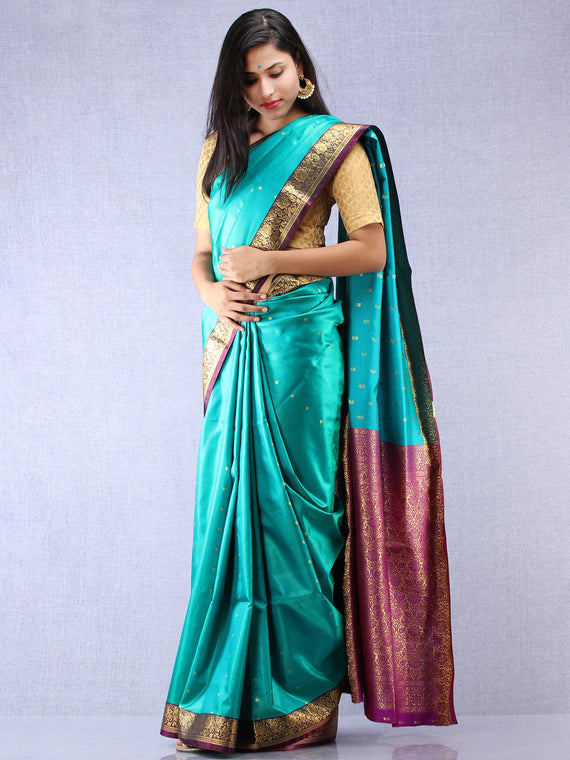 Banarasee Art Silk Self Weave Saree With Zari Work - Green Magenta & Gold - S031704339