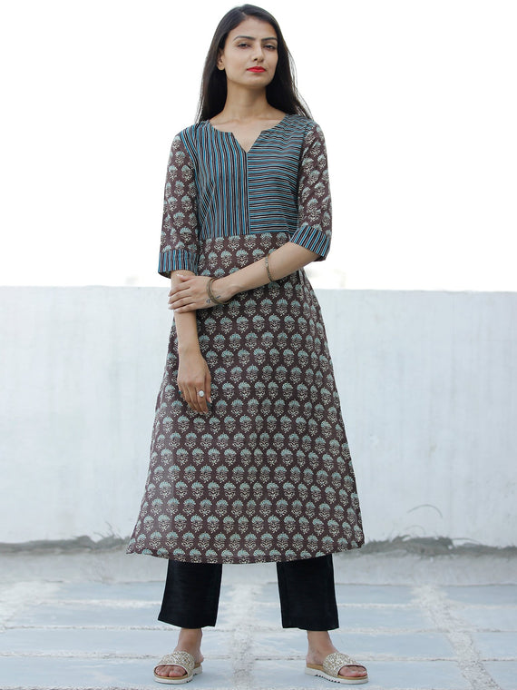 Brown Green Hand Block Printed Cotton Kurta - K190F1869