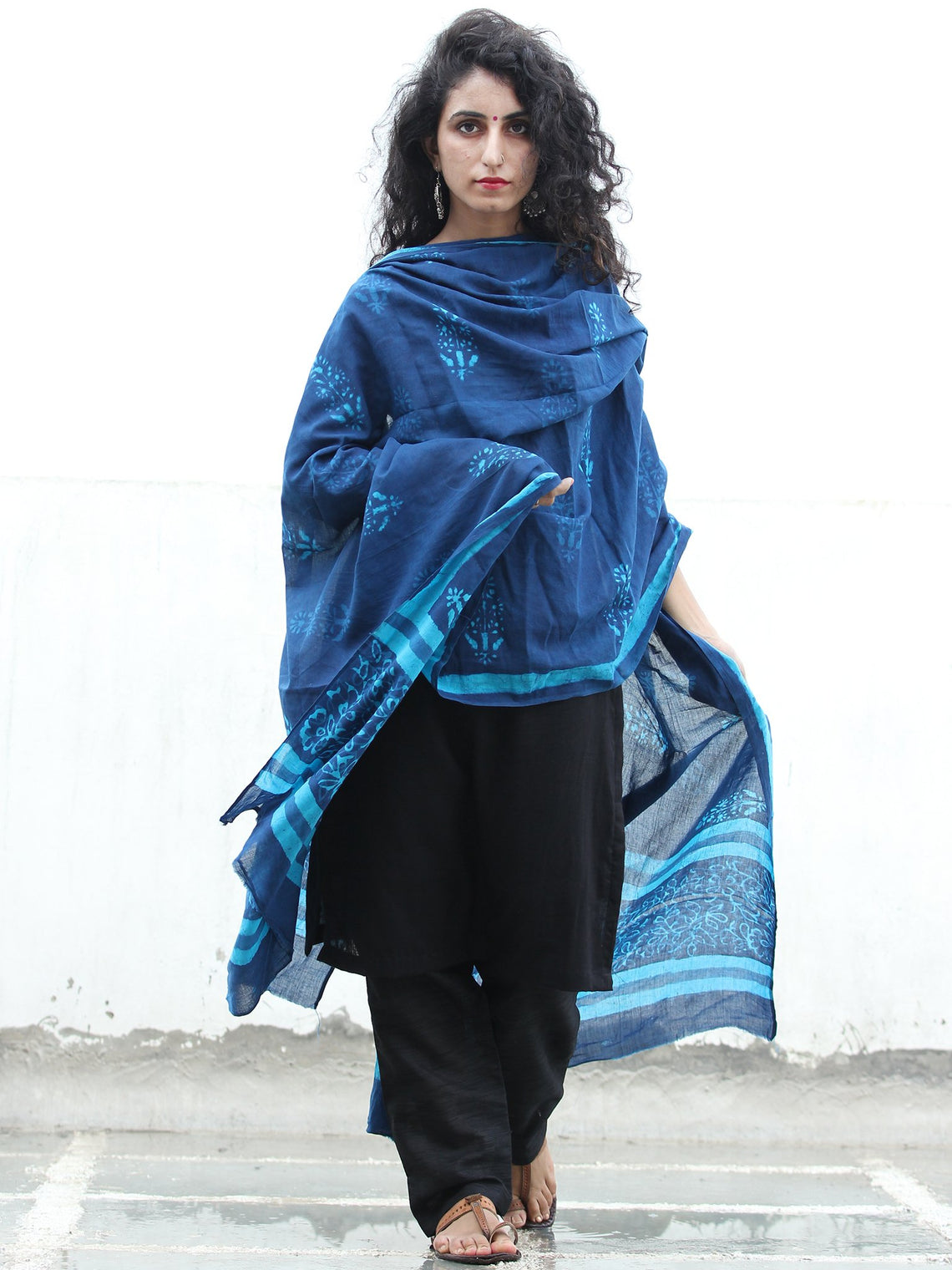 Indigo Sky Blue Cotton Hand Block Printed Dupatta - D04170426