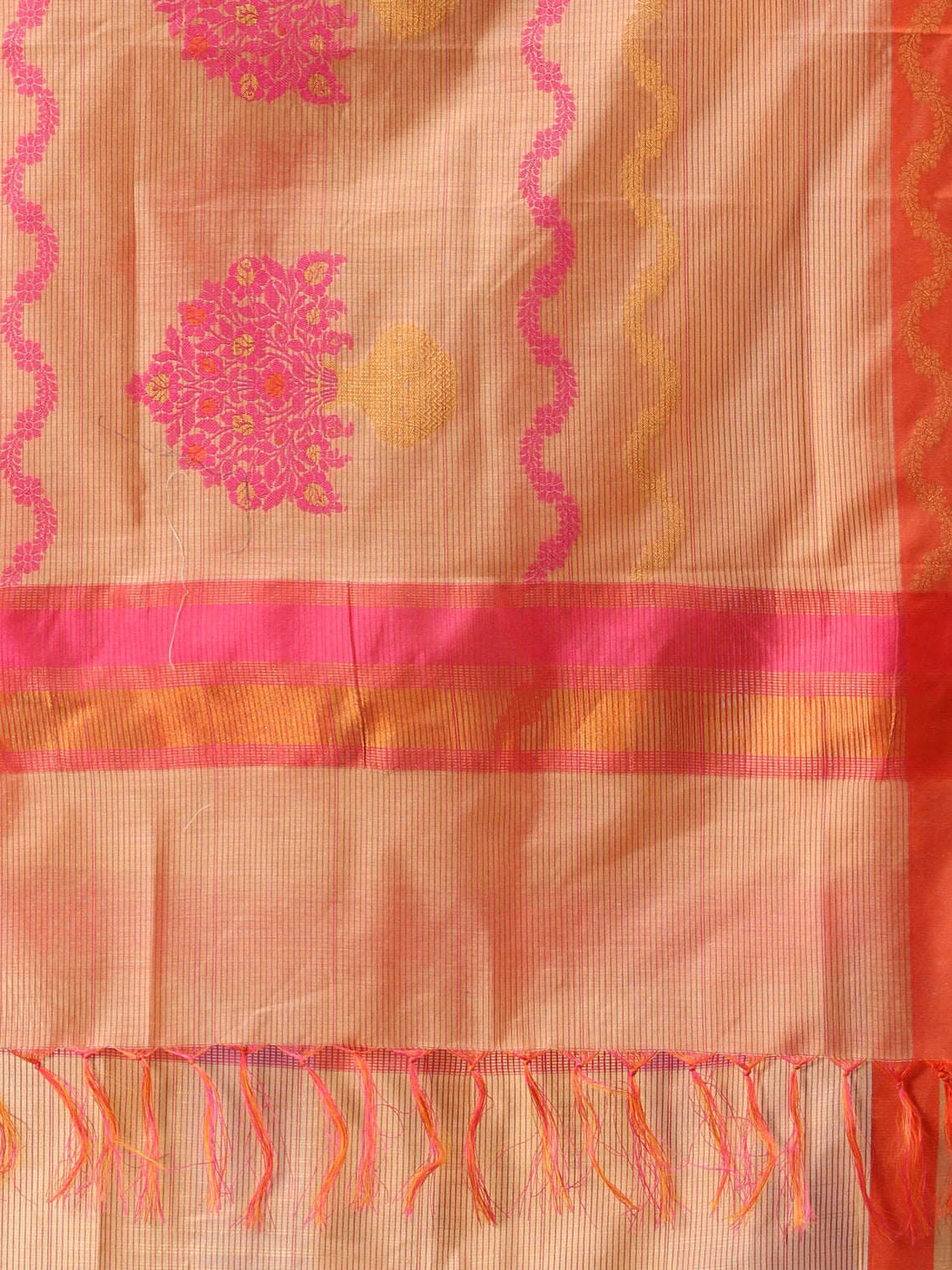 Banarasi Chanderi Dupatta With Resham Work - Pink Beige & Gold - D04170821