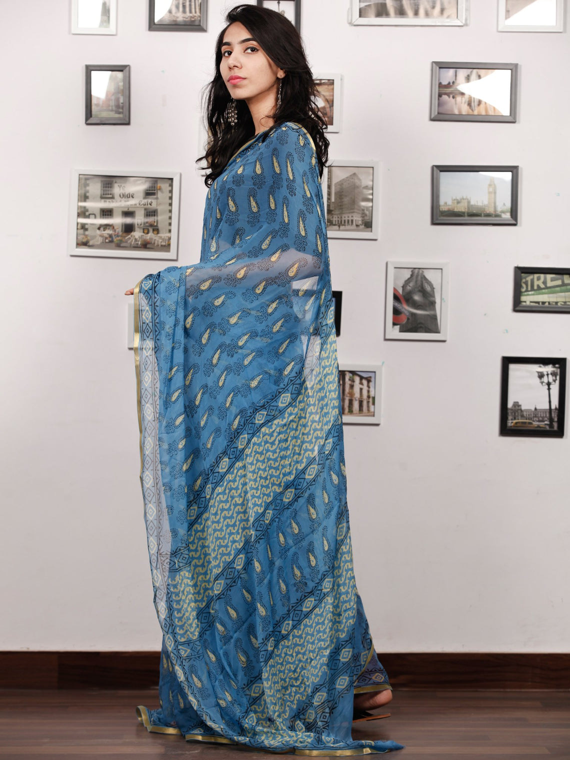 Blue Lime Black Hand Block Printed Chiffon Saree with Zari Border - S031703505
