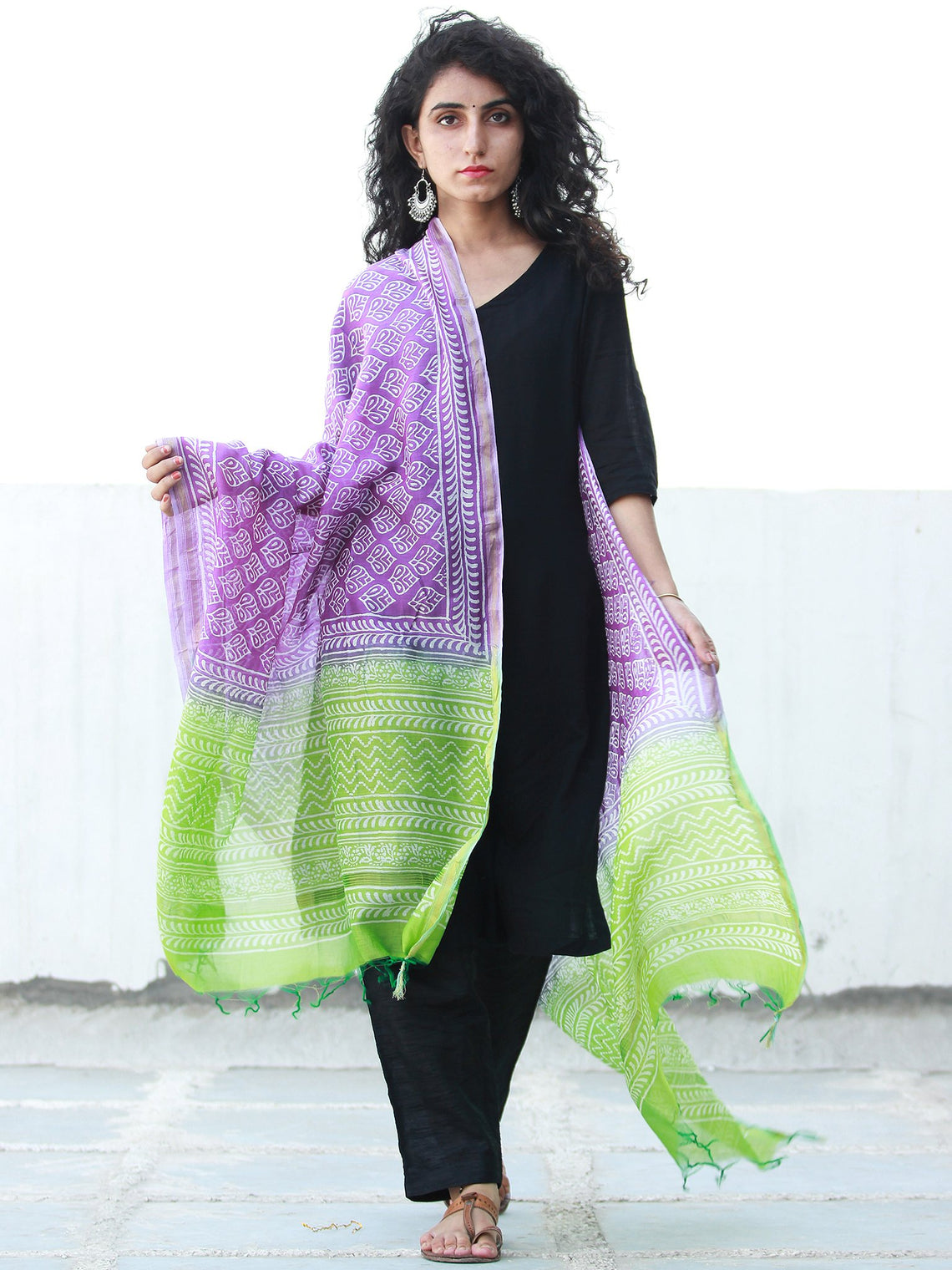 Purple Light Green Chanderi Hand Block Printed Dupatta - D04170479