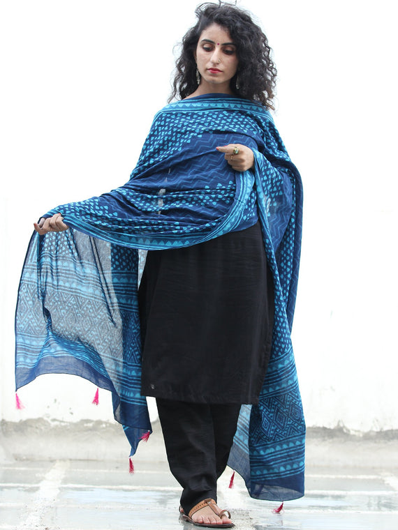 Indigo Sky Blue Cotton Hand Block Printed Dupatta With Tassels - D04170427