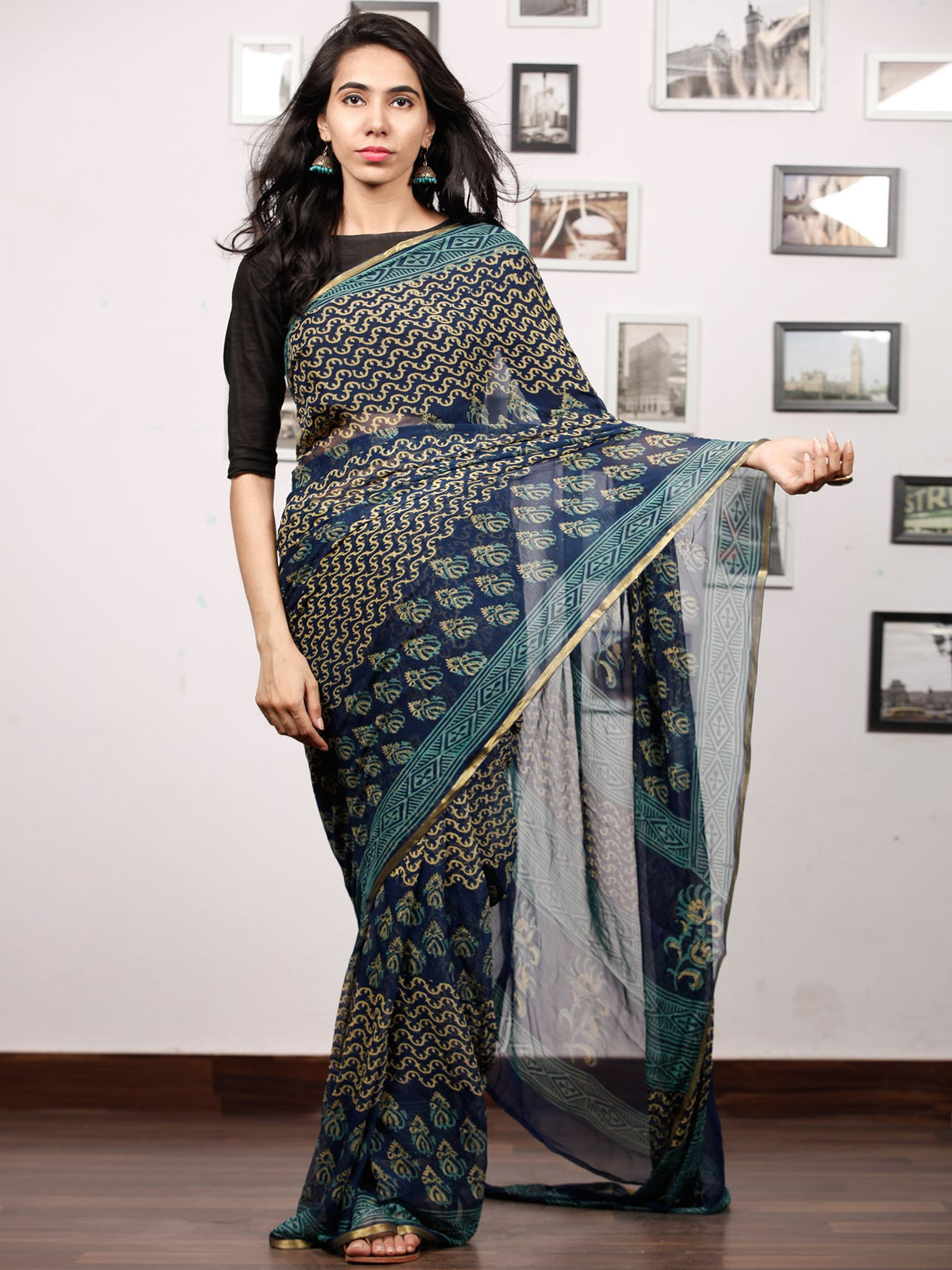 Blue Yellow Green Hand Block Printed Chiffon Saree with Zari Border - S031703507