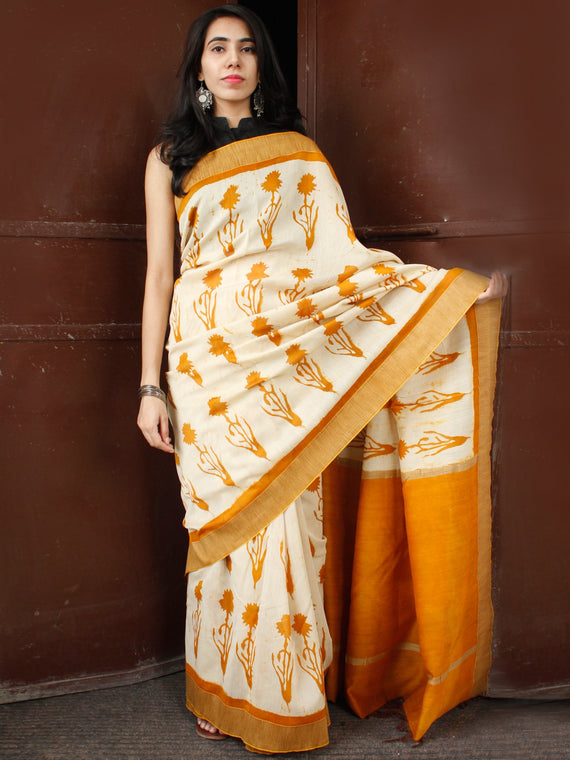 Golden Yellow Ivory Chanderi Silk Hand Block Printed Saree With Geecha Border - S031703681