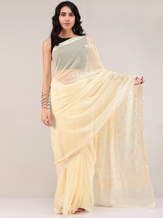 Cream Aari Embroidered Georgette Saree From Kashmir - S031704657