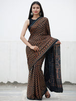 Lead Grey Rust Ajrakh Hand Block Printed Modal Silk Saree in Natural Colors - S031703728