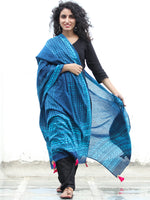 Indigo Sky Blue Cotton Hand Block Printed Dupatta With Tassels - D04170428