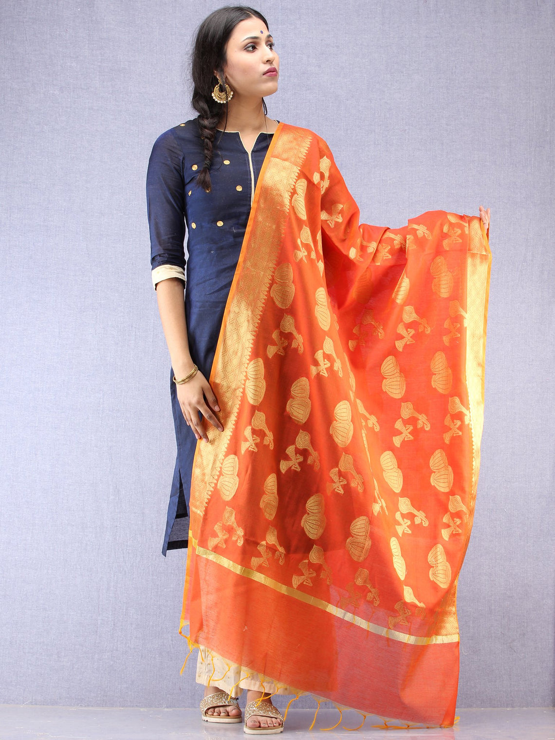 Banarasi Chanderi Dupatta With Zari Work - Orange & Gold - D04170826