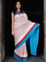 Red White Sky Blue Double Ikat Handwoven Cotton Saree - S031703544