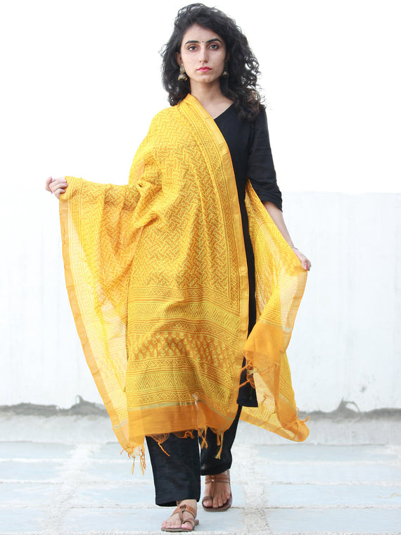 Yellow Ivory Chanderi Hand Block Printed Dupatta - D04170481