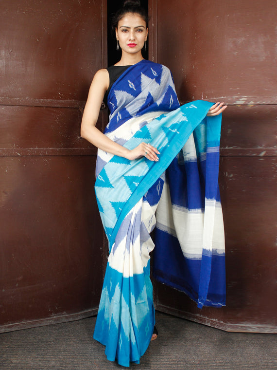 Blue White Double Ikat Handwoven Mercerised Cotton Saree - S031703669