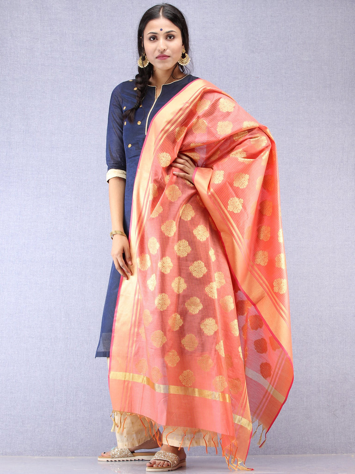 Banarasi Chanderi Dupatta With Zari Work - Coral & Gold - D04170828
