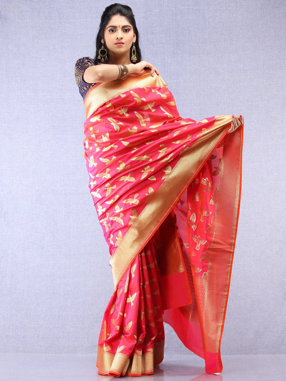 Banarasee Art Silk Saree With Bird Motif - Hot Pink & Gold - S031704344