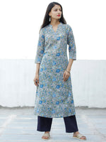 Grey Blue Green Hand Block Printed Cotton Kurta - K174F1905