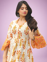 Raima - Orange Ivory Green Block Printed Panel Long Dress - D396F2047