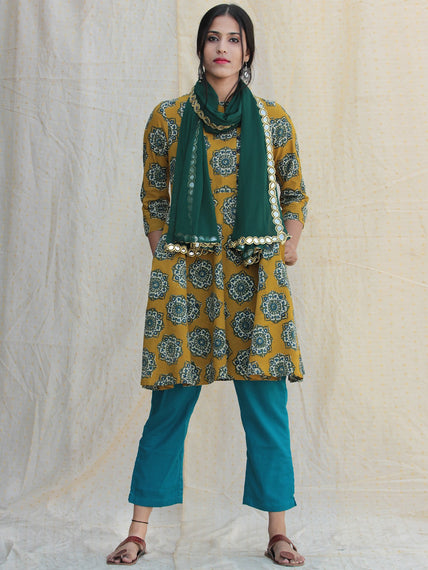 Nazz - Hand Block Printed Kurta Pant Set With Dupatta - SS01F1814