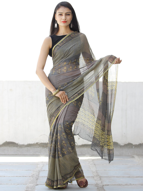Grey Yellow Hand Block Printed Chiffon Saree with Zari Border - S031703954