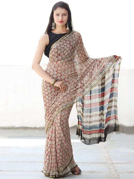 Ivory Red Blue Black Hand Block Printed Chiffon Saree with Zari Border - S031703913