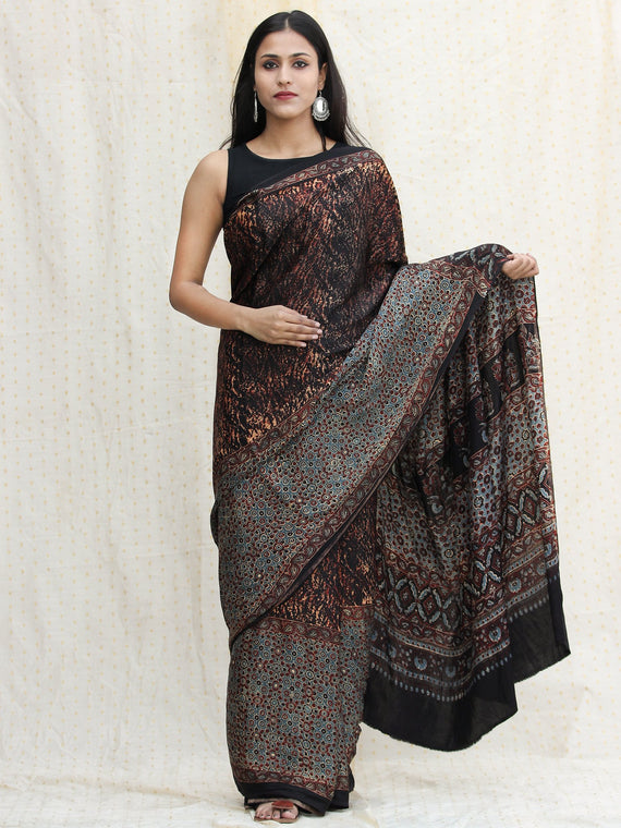 Rust Black Sage Green Ajrakh Hand Block Printed Modal Silk Saree - S031704117