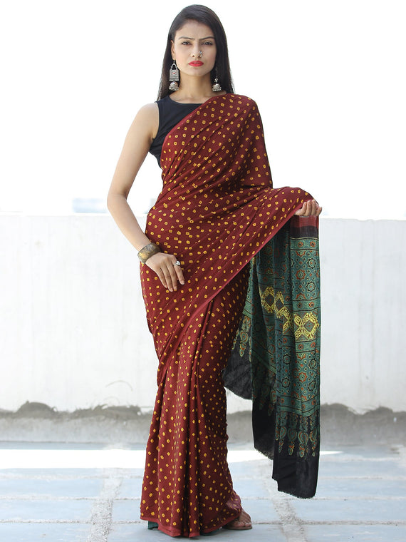 Maroon Yellow Green Bandhej Modal Silk Saree With Ajrakh Printed Pallu & Blouse - S031703873