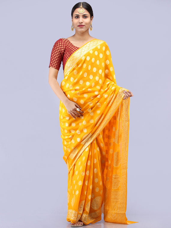 Banarasee Pure Chiffon Saree With Zari Work - Golden Yellow - S031704290
