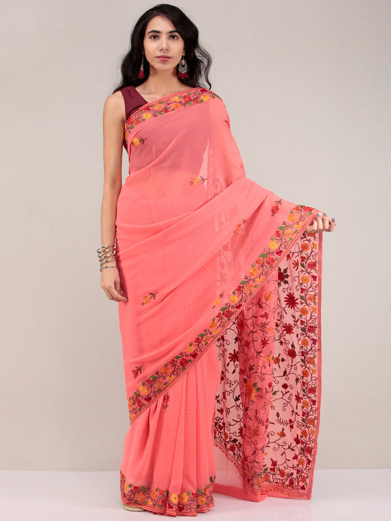 Peach Pink Aari Embroidered Georgette Saree From Kashmir - S031704625