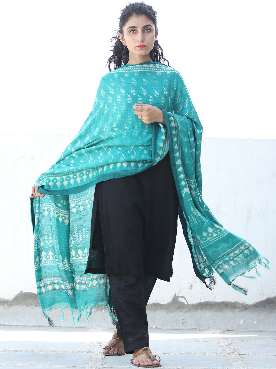 Teal Green Ivory Cotton Hand Block Printed Dupatta  - D04170472