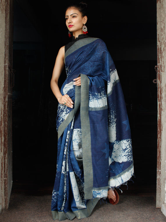Indigo White Chanderi Silk Hand Block Printed Saree With Geecha Border - S031703609