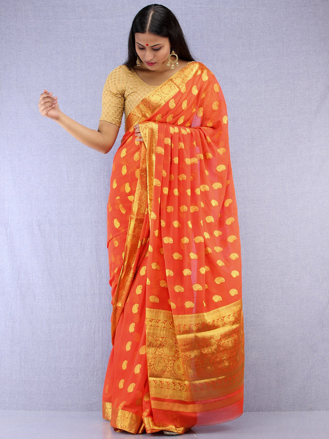 Banarasee Chiffon Saree With Golden Zari Weave - Coral & Gold - S031704402