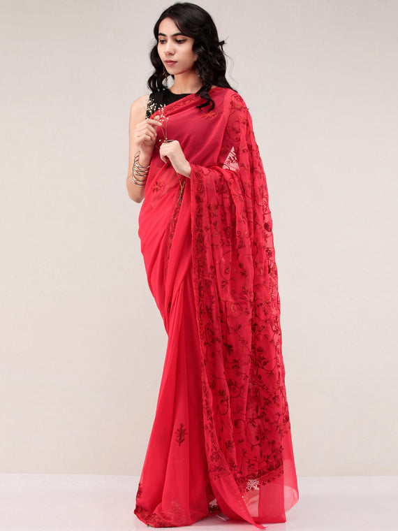 Red Aari Embroidered Georgette Saree From Kashmir - S031704661