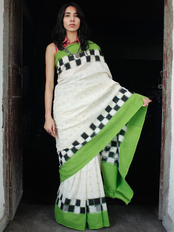 White Green Black Double Ikat Handwoven Mercerised Cotton Saree - S031703547
