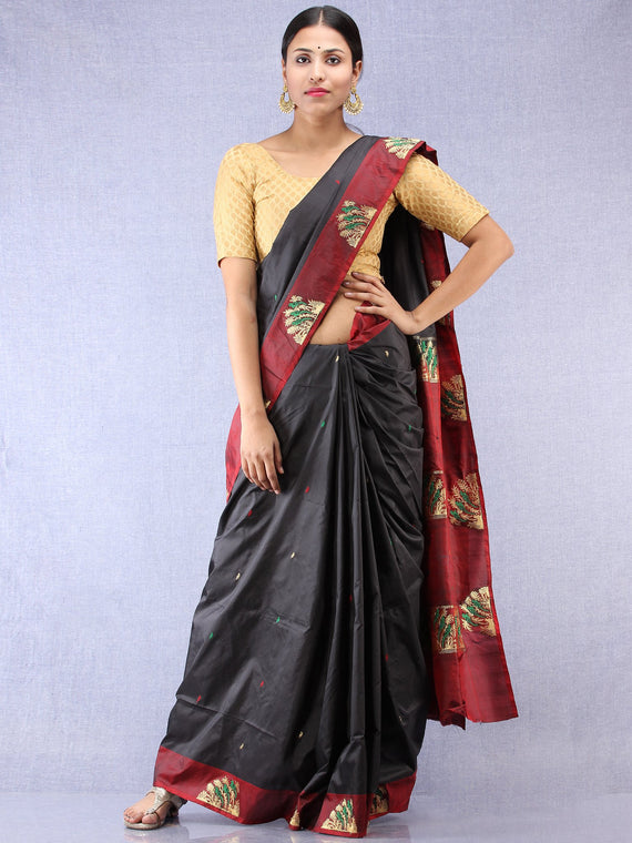 Banarasee Katan Silk Saree With Zari Work - Black Maroon Gold Green - S031704345