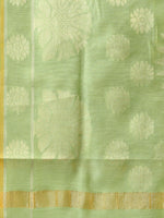 Banarasi Chanderi Dupatta With Resham Work - Light Green & Gold - D04170827